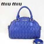 MiuMiu 0057 褶皺羊皮寶藍女包手提包
