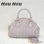 MiuMiu0057-5褶皺羊皮淺紫女包手提包