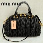 MiuMiu0058-2時尚休閒褶皺羊皮黑色女包手提包