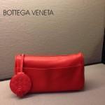 BV 1010-5 新款進口牛皮手包男女包 紅色BV風格手拿包