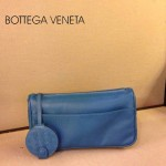 BV 1010-6 新款進口牛皮手包男女包 藍色BV風格手拿包