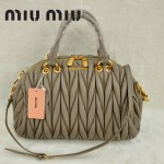 MiuMiu0058-3時尚休閒褶皺羊皮灰色女包手提包
