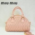 MiuMiu0057-4褶皺羊皮淺粉女包手提包