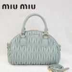 MiuMiu 0057-1 褶皺羊皮淺綠色女包手提包