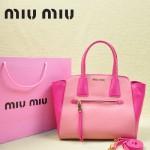 MiuMiu 0068 -04 時尚休閒櫻花粉配梅紅原版皮女性包包手提包
