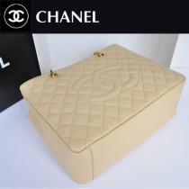 CHANEL A36092-2 新款杏色金鏈原版皮CHGST系列魚子醬牛皮球紋皮大包購物包
