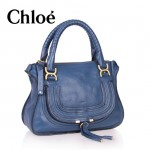 CHLOE 166320-4 新款 Marcie 琵琶包 頂級質量 寶藍色手提女包