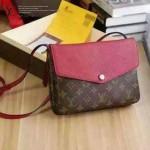 LV M50185-2 新款潮流女士老花配紅色皮休閒小包單肩包