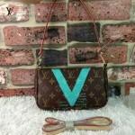 LV 001-2 專櫃新款塗鴉V系列藍色晚宴手拿包單肩包