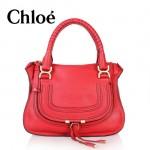 CHLOE 166320-6 新款 Marcie 琵琶包 頂級質量 紅色手提女包