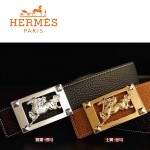 HERMES 0079 愛馬仕馬型金銀扣黑色/土黃色原版皮皮帶
