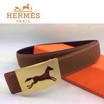 HERMES 0100 愛馬仕鏤空馬型金扣土黃色原版皮皮帶