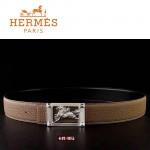 HERMES 0078 愛馬仕馬型銀扣卡其色原版皮皮帶