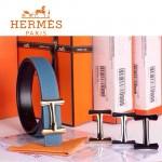 HERMES 0025 愛馬仕H字金扣天藍色原版皮皮帶