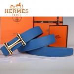 HERMES 0044 愛馬仕H字金扣藍色原版皮皮帶