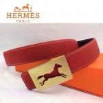 HERMES 0018 愛馬仕金色鏤空馬型扣紅色原版皮皮帶