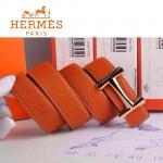 HERMES 0098 愛馬仕H字金扣橙色原版皮皮帶
