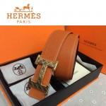 HERMES 0057 愛馬仕H字格紋金扣橙色原版皮皮帶