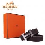 HERMES 003 愛馬仕H字銀扣棕色原版皮皮帶