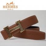 HERMES 0038 愛馬仕H字蛇皮紋金扣土黃色原版皮皮帶
