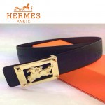 HERMES 0026 愛馬仕金色馬型扣黑色原版皮皮帶