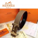 HERMES 0092 愛馬仕H字鑲黑白鉆金扣卡其色原版皮皮帶