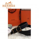 HERMES 0064 愛馬仕H字金扣黑色原版皮皮帶