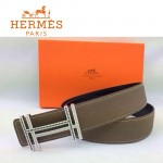 HERMES 0093 愛馬仕H字鑲黑白鉆金扣卡其色原版皮皮帶