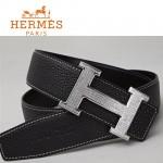 HERMES 0036 愛馬仕H字銀色鑲鑽扣黑色原版皮皮帶