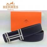 HERMES 0081 愛馬仕H字鑲黑白鑽銀扣黑色原版皮皮帶