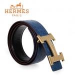 HERMES 0135 愛馬仕H字蜥蜴紋金扣藍色鴕鳥紋原版皮皮帶