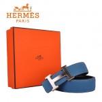 HERMES 006 愛馬仕H字銀色金邊扣藍色原版皮皮帶