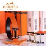 HERMES 0097 愛馬仕H字槍色扣橙色原版皮皮帶