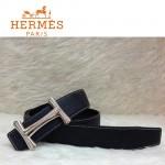 HERMES 0062 愛馬仕H字鑲鑽銀扣黑色原版皮皮帶