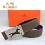HERMES 0021 愛馬仕銀色鏤空馬型扣卡其色原版皮皮帶