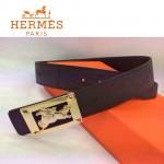 HERMES 0015 愛馬仕金色馬型扣原版皮皮帶