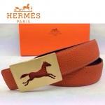 HERMES 0023 愛馬仕金色鏤空馬型扣橙色原版皮皮帶