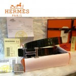 HERMES 0041 愛馬仕H字鑲鑽銀扣黑色鱷魚皮原版皮皮帶