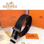 HERMES 0024 愛馬仕H字鑲鑽扣黑色原版皮皮帶