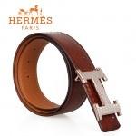 HERMES 0124 愛馬仕H字蜥蜴紋銀間金扣褐色蛇皮兩用原版皮皮帶