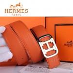 HERMES 0048 愛馬仕H字間金扣橙色原版皮皮帶
