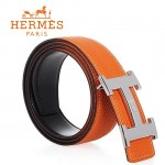 HERMES 0040 愛馬仕H字馬拉車拉絲銀扣橙色原版皮皮帶