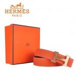 HERMES 0012 愛馬仕H字金扣橙色原版皮皮帶