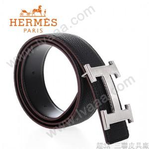 HERMES 0116 愛馬仕H字銀扣黑色原版皮皮帶