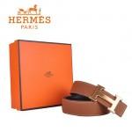 HERMES 002 愛馬仕H字金扣土黃色原版皮皮帶