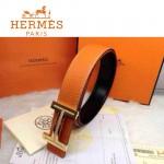 HERMES 0088 愛馬仕H字鑲鑽金扣橙色原版皮皮帶