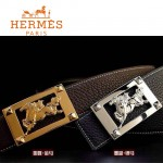 HERMES 0034 愛馬仕馬型金銀扣兩色原版皮皮帶