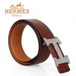 HERMES 0130 愛馬仕H字蜥蜴紋銀扣褐色蛇皮兩用原版皮皮帶