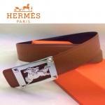 HERMES 0030 愛馬仕銀色馬型扣土黃色原版皮皮帶