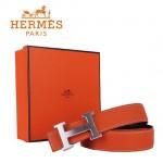 HERMES 0011 愛馬仕H字銀扣橙色原版皮皮帶